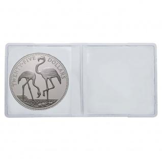 100 LINDNER 4027 Doppelmünzhüllen Doppel Münztaschen Münzenhüllen aus PVC klare Folie für Münzen bis 60 mm