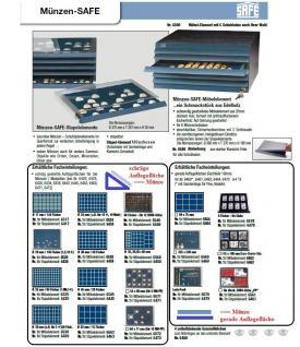 SAFE 6525 Schubladen für SAFE 6500 mit schräger Auflagefläche blaue Einlage 84 eckige Fächer 25 mm - Ideal für 20 Gold Mark Kaiserreich - 1, 2, 5, 10, 20, 50 Cent - 1 Euro; 1, 2, 5, 10, 50 Pfennig - 1 DM, 1/4 OZ Unze Goldmünzen - Vorschau 2