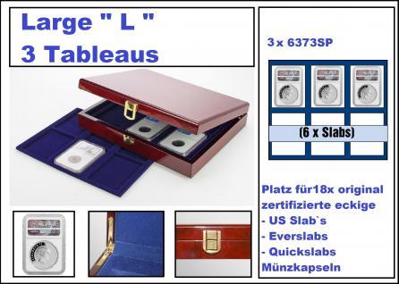 """SAFE 3530 Premium WURZELHOLZ Münzkassetten Large """" L """" US SLAB 18 mit 3 Tableaus 6373 Für 18 x original zertifizierte US Slab & Everslab & Quicklab Münzkapseln"""