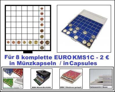 SAFE 6608-4 BEBA MÜNZBOXEN 64 quadratische Fächer 33, 6 mm + blaue Filze Für 8 komplette Euro KMS Kursmünzensätze von 1 , 2 , 5 , 10 , 20 , 50 Cent & 1 , 2 Euro in Münzkapseln