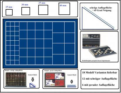 SAFE 6468 Stapelelement - Münzbox mit schräger Auflagefläche blaue Einlage 57 eckige Fächer MIXED 25 - 30 - 35 - 40 mm - Idealer Starter Schuber für Münzen mit verschiedenen Durchmessern bis 40 mm