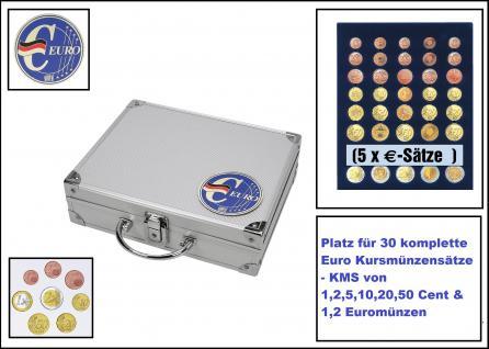 SAFE 279-2 ALU Münzkoffer - Sammelkoffer SMART Deutschland 3D Plakette Für 30 x komplette Euro Kursmünzensätze KMS 1, 2, 5, 10, 20, 50 Cent & 1, 2 Euromünzen,