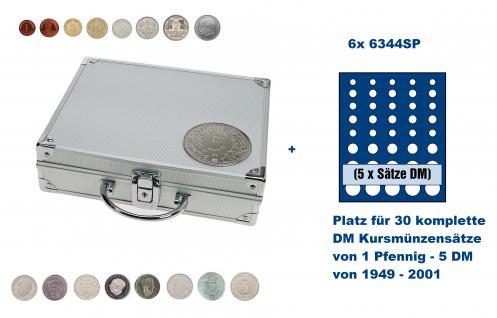SAFE 235 ALU Länder Münzkoffer SMART BR. Deutschland Kursmünzen 1 Pfennig - 5 DM mit 6 Tableaus 6344 SP für 30 komplette KMS Kursmünzensätze von 1949 - 2001