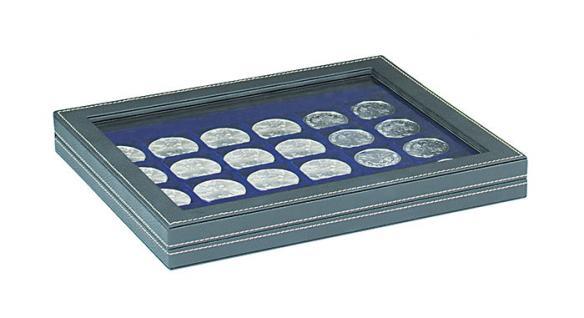 LINDNER 2367-2124ME Nera M PLUS Münzkassetten Einlage Marine Blau mit glasklarem Sichtfenster 20 Fächer für Münzen bis 41x 41 mm - 1 Dollar US Silver Eagle $