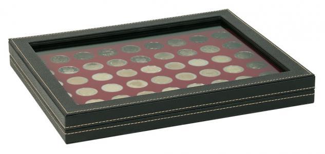 LINDNER 2367-2754E Nera M PLUS Münzkassetten Standard Einlage Dunkelrot Rot mit glasklarem Sichtfenster für 54 x Münzen 25, 75 mm für 2 Euro