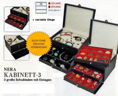 LINDNER 2373-2403E NERA KABINETT Sammelkassette Schmuckkassette Uhrenkassette 3 Schuber 2403E mit 3 Fächen 65x280 mm & variablen Stegen für die Facheinteilung