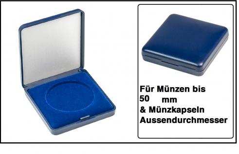 Lindner 2029-050 Blaues Kunststoff Münzetui mit blauer Veloureinlage Für Münzen / Münzkapseln bis 50 mm