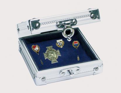 """SAFE 5871 ALU Sammelvitrine Vitrine """" Smart """" ohne Fächer mit blauem Samt Einlage 100 x 95 x 40 mm Ideal für Pins - Buttons Anstecknadeln"""