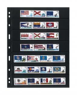 10 x LINDNER 077 UNIPLATE Blätter, schwarz 7 Streifen / Taschen 33 x 194 mm Für Briefmarken