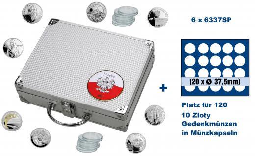 SAFE 244 - 6337 ALU Münzkoffer SMART Polen / Polska mit 6 Tableaus 6337 für 120 - 10 Zloty Gedenkmünzen in Münzkapseln 32 - 32, 5 PP mm / monet w kapsulkach 32 - 32, 5 PP bezramkowych mm