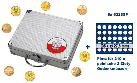 SAFE 244 - 6328 ALU Münzkoffer SMART Polen / Polska mit 6 Tableaus 6328 für 210 2 Zloty Gedenkmünzen / Polskie Monety okolicznosciowe