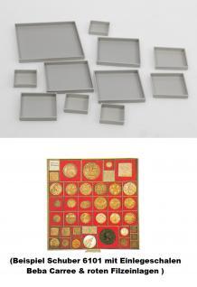 10 x BEBA 6163 Carree Münzrahmen Einlageschälchen 44, 5 mm für MAXI Schuber 6101 6102 Münzboxen 6601