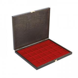 LINDNER S2491-2724E CARUS-1 Echtholz Holz Münzkassetten dunkelrot Mit 42 quadratischen Fächern bis 42 mm
