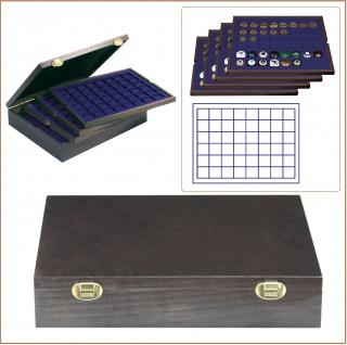 LINDNER 2494-6M CARUS-4 Echtholz Holz Sammelkassetten Carus-4 mit 4 Tableaus blau 192 Fächer Champagnerdeckel & Champagnerkapseln bis 30 x 30 mm