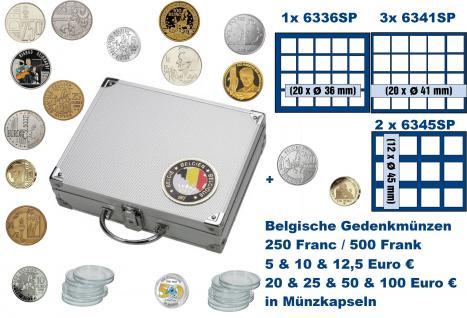 SAFE 239 ALU Länder Münzkoffer SMART Belgein / Belgique / Belgie / Belgium mit 1 Tableaus 6336, 3x 6341, 2x 6345 für 104 Gedenkmünzen 250 / 500 Franc - 5 / 10 / 12, 5 / 20 / 25 / 50 / 100 Euro in Münzkapseln