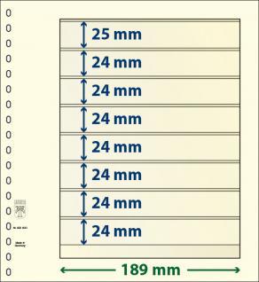 10 x LINDNER 802800P T-Blanko-Blätter Blankoblatt 18-Ring Lochung 8 Taschen 1x 25 mm 7x 24 mm x 189 mm