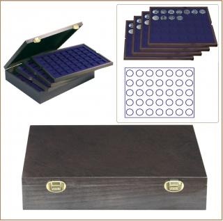LINDNER 2494-7M CARUS Echtholz Holz Münzkassetten 4 Tableaus blau 140 Fächer Münzen 32, 5 x 32, 5 mm Deutsche 10 DM - 10 - 20 Euro Gedenkmünzen