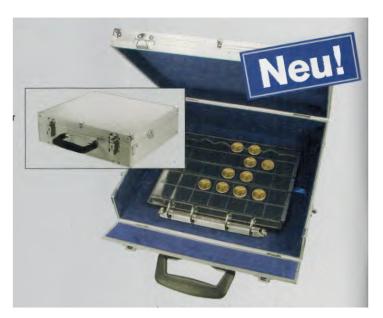 SAFE 208SP Alu Premium Ringkassette Münzkoffer 4 Ring-Mechanik leer zum selbst befüllen - Platz für bis zu 20 Premium Münzblätter