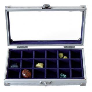 """SAFE 5872 ALU Sammelvitrine Vitrine """" Smart """" ohne Fächer mit blauem Samt Einlage 195 x 110 x 40 mm Ideal für Pins - Buttons Anstecknadeln - Vorschau 5"""