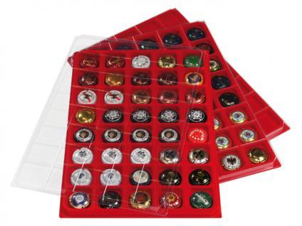 2 x LINDNER 3510P Sammel Tableaus Einlage PLATEAU ECO LUXE mit Klarsichtdeckel Für 80 Champagerdeckel Champagnerkapseln