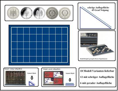 SAFE 6434 Stapelelement Münzbox Münzen-SAFE schräge Fläche blaue Einlage 45 eckige Fächer 34 mm - Ideal für 10 DM & 10 - 20 Mark DDR & Deutsche 10 - 20 Euro Münzen