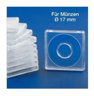 10x SAFE 3117 Quadratische Münzkapseln Münzdosen Square 50x50 mm glasklar für Münzen bis 17 mm - Ideal für 1 Pfennig - 1 Cent - 1/10 Oz American Eagle Gold