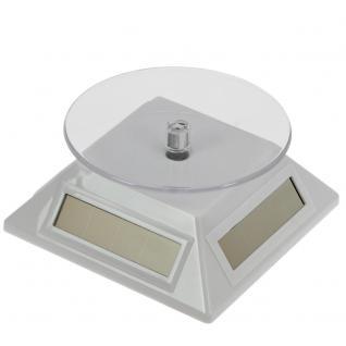 SAFE 5333 Solarbetriebene Drehbarer Deko Drehteller Display Ständer Präsentierteller 90 mm Weiss Für Schmuck - Uhren - Antiquitäten - Mineralien - Fossilien - Figuren - Modellbau - Vorschau 2
