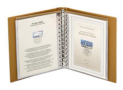 LINDNER 1103E - H - Hellbraun Braun ETB - Album Ringbinder Classic + 20 Klarsichthüllen 819 Für Ertstagsblätter - Vorschau 3