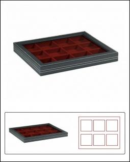 LINDNER 2367-2862E Nera M PLUS Sammelkassetten Dunkelrot Fenster 12x 66x66x18, 5mm