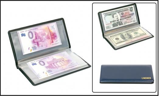 Lindner S817 Blaues Taschenalbum Banknotenalbum mit 20 glasklaren Kunststoff Hüllen