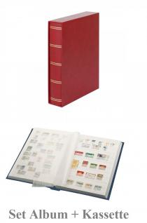 """Lindner 1162SK-R Briefmarken Einsteckbücher Einsteckbuch Einsteckalbum Einsteckalben Album """" Elegant """" Rot - Weinrot + Schutzkassette wattiert 60 weiße Seiten"""