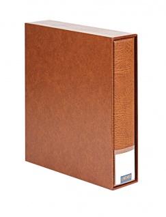 LINDNER 3533-H Hellbraun - Braun Publica LS Ringbinder Album Universal A4 + Schutzkassette (leer) zum selbst befüllen