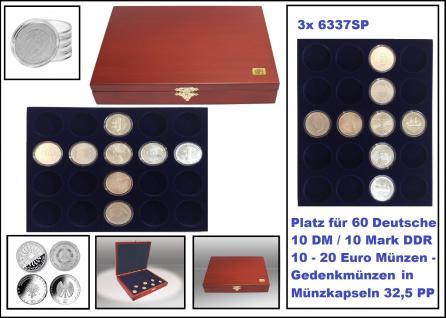 SAFE 5897 Elegance Holz Münzkassetten mahagonifarbend mit 3 Tableaus 6337SP 60 runde Fächer Für 10 - 20 Euro / 10 DM / 10 Mark DDR Deutschland in Münzkapseln 32, 5 PP ohne Rand oder Münzen bis 37, 5 mm