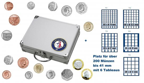 SAFE 246 STANDARD ALU Länder Münzkoffer SMART Grossbritannien / Great Britain / United Kingdom / England mit 6 Tableaus Mix für über 200 Münzen bis 41 mm der Royal Mint