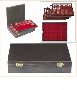 LINDNER 2494-3 CARUS Echtholz Holz Münzkassetten mit 4 Tableaus dunkelrot - rot 80 Fächer 50 x 50 mm Münzrähmchen Octo Quadrum Münzkapseln