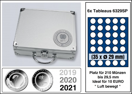 """SAFE 292 ALU Münzkoffer SMART Deutsche 10 Euro """" Luft bewegt"""" + 6x 6329SP Tableaus Für 210 Münzen bis 29, 5 mm - Ideal für 10 Euro Deutschland Luft bewegt"""