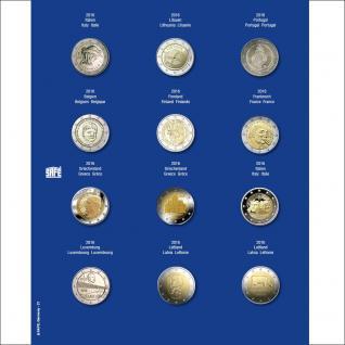 1 x SAFE 7302-21 TOPset Münzblätter Ergänzungsblätter Münzhüllen mit farbigem Vordruckblatt für 2 Euromünzen Gedenkmünzen in Münzkapseln 26 - 2016