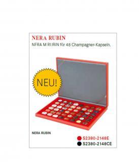 LINDNER S2380-2148E Nera M Rubin Kassetten Hellrot - Rot 48 x 30 mm für 48 Champagnerdeckel & Champagnerkapseln