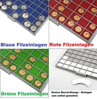 SAFE 6610-4 BEBA MÜNZBOXEN 100 quadratische Fächer 26, 5 mm + blaue Filzeinlagen Für 12 komplette Euro Kursmünzensätze KMS von 1 , 2, , 5 , 10 , 20 , 50 Cent & 1 , 2 Euromünzen - Vorschau 3