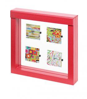 LINDNER 4868 NIMBUS 150 Rot Krokodesign Sammelrahmen Schweberahmen 3D 150x150x25 mm Für Taschenuhren - Armbanduhren - Uhren - Schmuck