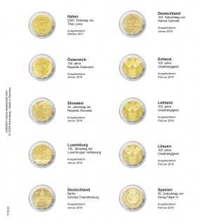 1 x LINDNER 1118-23 Vordruckblatt + K3 Karat Blatt - 2 EURO Gedenkmünzen Italien 2017 - Spanien 2018