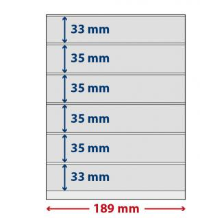 5 x LINDNER S802606H LINDNER-T freestyle Folienhüllen 6 Einsteckstreifen 33x189mm mit Klebestreifen