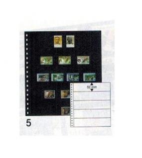 10 x LINDNER 05P Omnia Einsteckblätter schwarz 5 Streifen x 52 mm Streifenhöhe