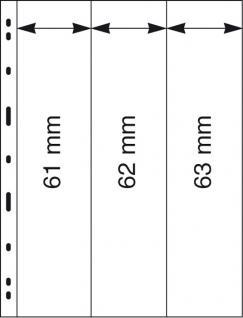 5 x LINDNER 083 UNIPLATE Blätter, glasklar 3 Streifen je 1x 61 x 258 mm & 62 x 258 mm & 63 x 258 mm