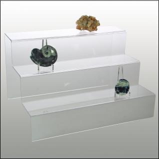 SAFE 5265 ACRYL Präsentations-Treppen Deko Aufsteller 3 Stufen Für Mineralien - Fossilien - Steine - Bernstein - Muscheln - Kristalle