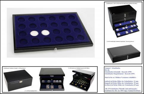 1 x SAFE 5867-1 Schwarze Schubladenf für die Sammelschatulle 6590 & 6591 mit blauer Einlage 24 runde Fächer 38 mm Ideal für 10 DM - 10 Mark DDR - 10 & 20 Euro Münzen alle Münzkapseln 32, 5 PP - Vorschau 1