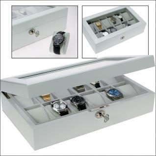 SAFE 263 Lackholz Uhrenkassette Weiss Piano Optik mit 12 Uhrenhaltern klarem Sichtfenster - Schmuck - Uhren - Armbanduhren