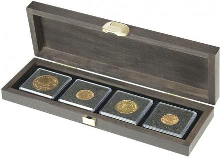 LINDNER S2490-4 Echtholz Kassette Carus S 4 Fächer Münzen bis 52 mm Ideal für Standard Münzrähmchen Carree Münzkapseln & Quadrum Münzkapseln