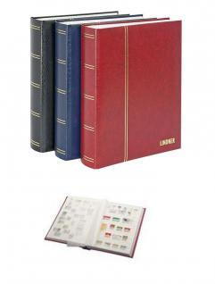 """Lindner 1175 - B Briefmarken Einsteckbücher Einsteckbuch Einsteckalbum Einsteckalben Album """" Elegant """" Blau wattiert 64 weiße Seiten - Vorschau 1"""