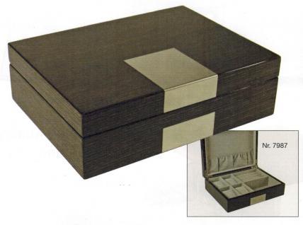 SAFE 7987 Dunkle Design Holz Hochglanz Schmuckschatulle Schmuckkassette / Uhrenschatulle Uhrenkassette mit 6 Fächern - Format 250x190x80 mm